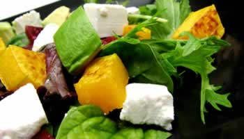 Recipe for avocado, squash, watercress, beetroot and feta salad