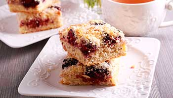 Blackberry and coconut squares recipe