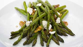 Asparagus with pear and walnut dressing recipe