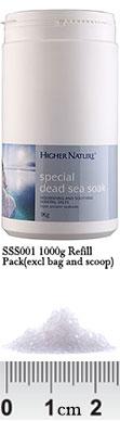 Special Dead Sea Soak 1000g-Nachfüllpackung wird ohne Beutel und Dosierschaufel geliefert