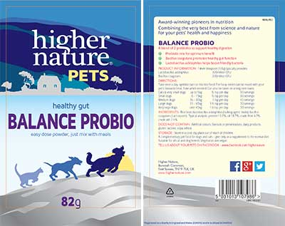 Higher Nature Balance Probio For Pets Label