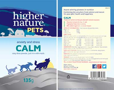 Higher Nature Calm For Pets Label