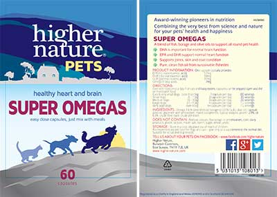 Super Omegas For Pets Label