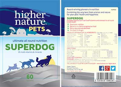 Superdog Multivitamin for Dogs Label