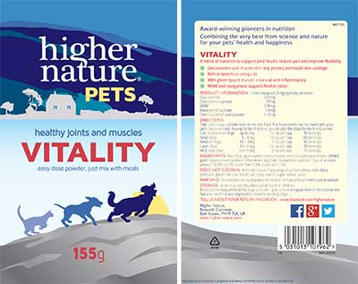 Vitality glucosamine hydrochloride and chondroitin for pets label