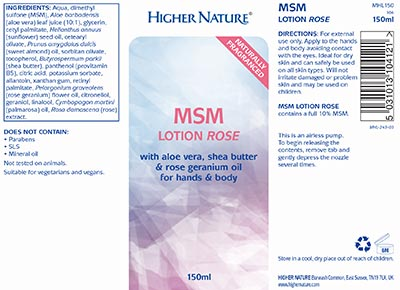 Naturally Fragranced MSM Lotion Rose